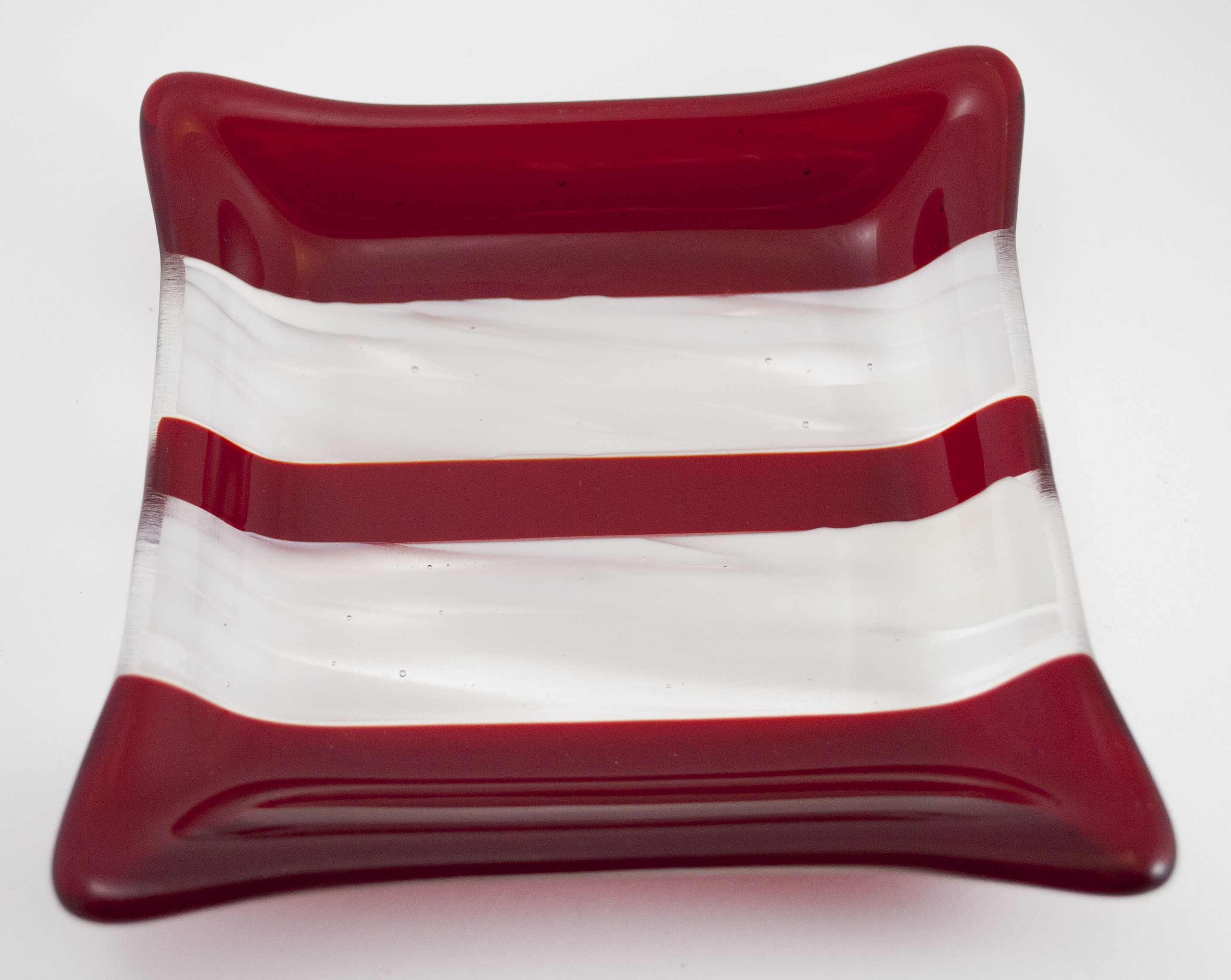 Red white striped dish