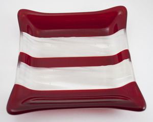 Thumb red white striped dish