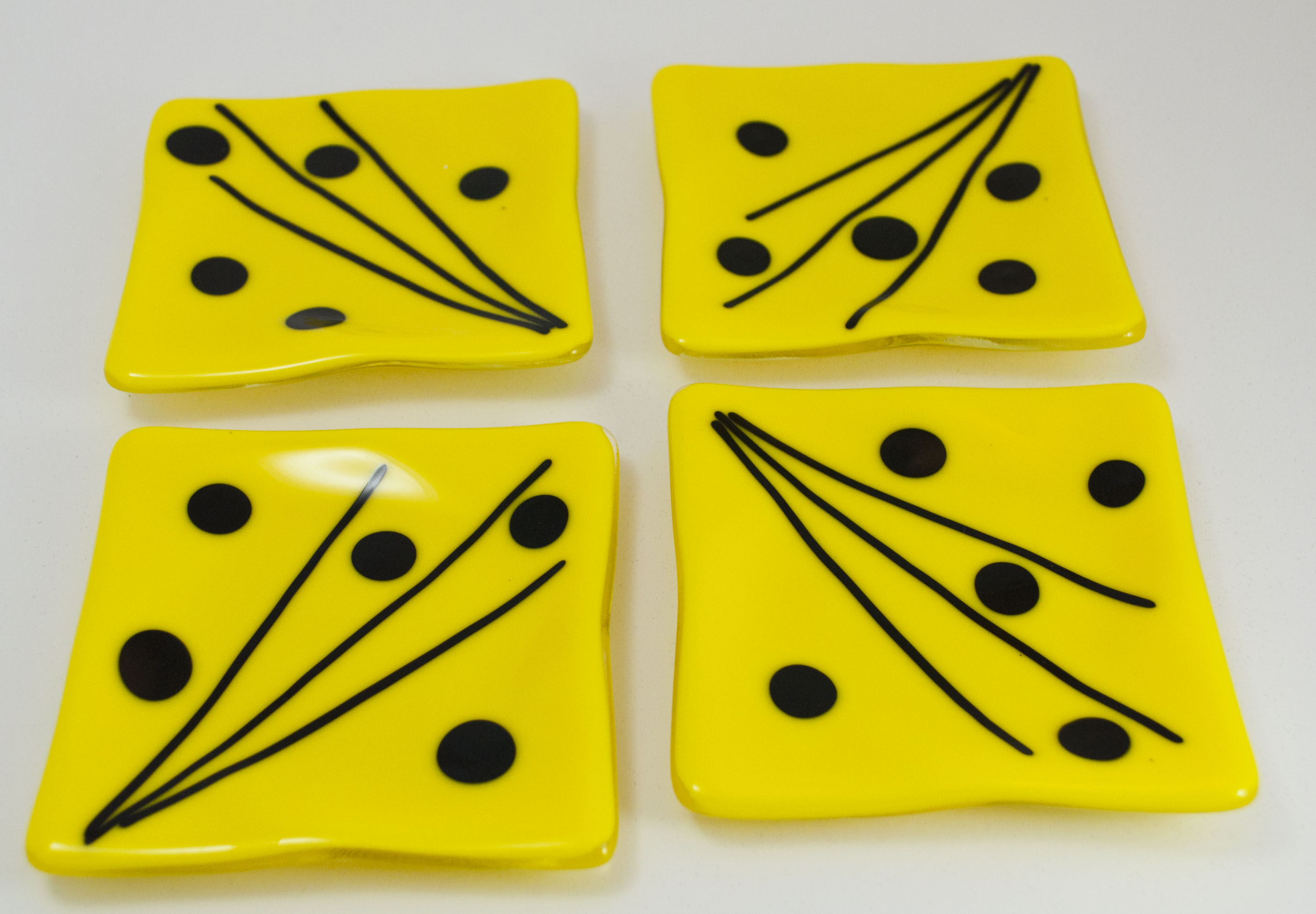 Yellow with black dots coasters