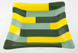 Thumb green and yellow striped dish 1
