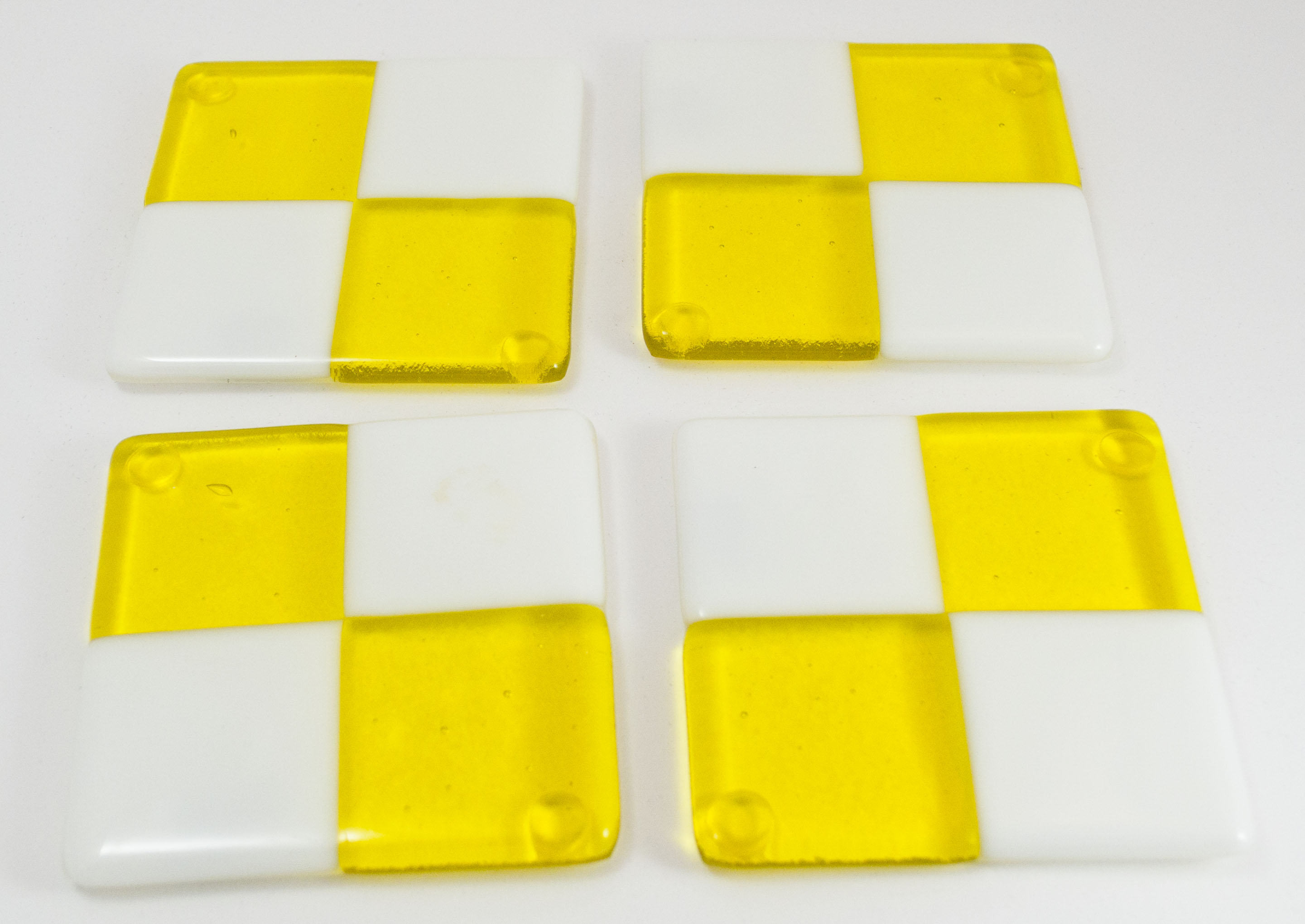 Yellow white square coasters