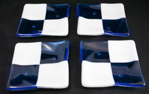 Thumb white blue square coasters